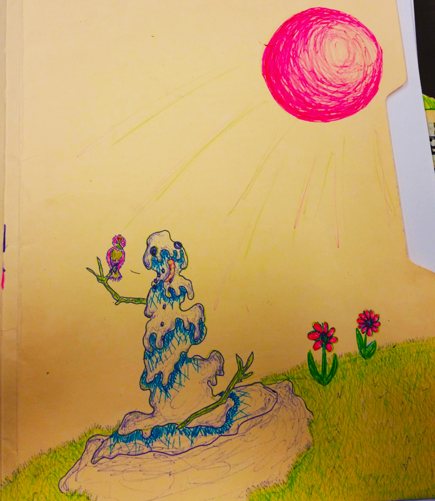 """Snowman Meets Spring"" (on a file folder)"