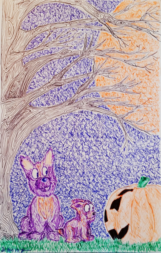 A Corgi Howl-o-ween (ballpoint pen), August 2014