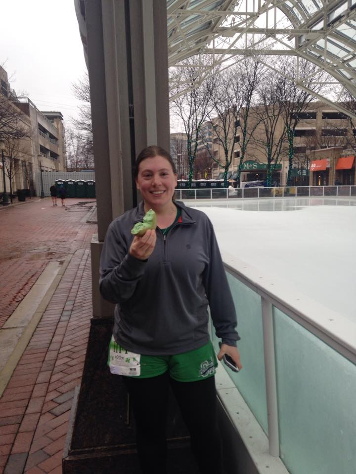 Enjoying my first bagel since August (green for St. Patrick's Day) after running my first 5K since 2010.