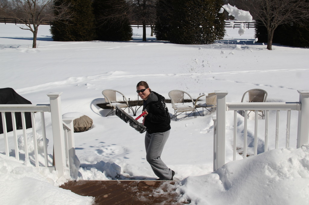 "Here I am ""killing snow,"" as I call it--throwing it on warm pavement."