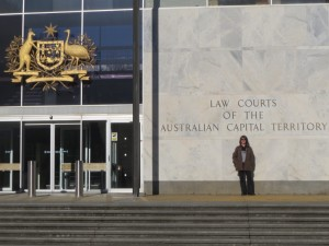 Alana in front of ACT Supreme Court