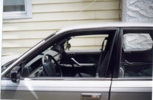 The alien hanging from the mirror was my good-luck charm; it moved to the car I bought after the Houdinimobile, and it's still there today!