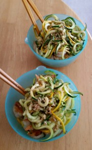 Mmmm. Zoodles and shrimp! Made with the help of this recipe: http://kelleyandcricket.com/sticky-garlic-noodles-ans-famous-garlic-noodles-copycat-15-minutes-gluten-free/